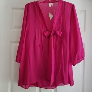 Shear Magenta Womans Blouse Large